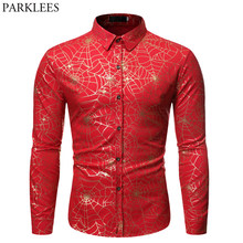 Sexy Spider web Bronzing Red Shirt Men Nightclub Style Mens Social Shirt Hip Hop Streetwear Male Casual Shirt Party Prom Costume(China)