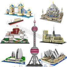 new mini-block architectural model, Paris Eiffel Tower, Big Ben. Building block model of Potala Palace in Notre Dame de Paris