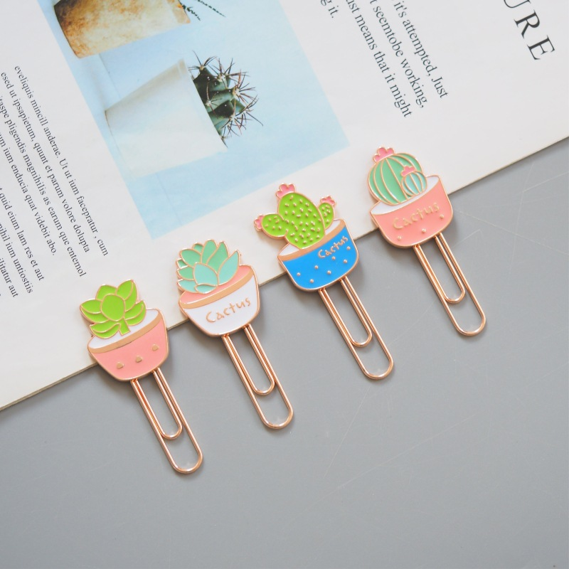 Potted Plant Colorful Paper Clip Bookmark Promotional Gift Stationery School Office Supply