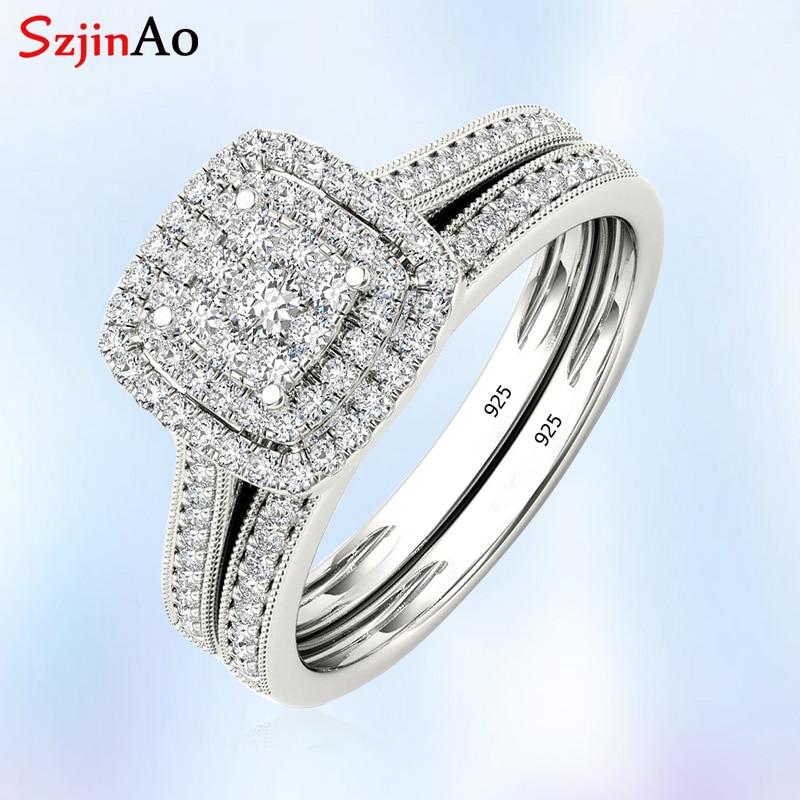 Szjinao diamant anneaux pour femmes réel 925 bague de mariage en argent Sterling Couple fiançailles Micro laboratoire diamant bijoux de noël