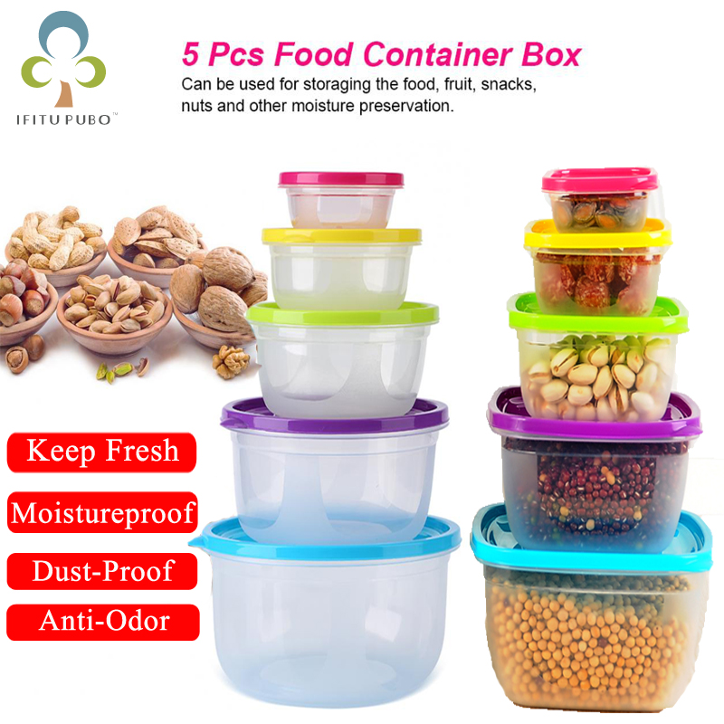 5Pcs/Set Sealed Square Round Crisper Refrigerator Rainbow Food Storage Boxes Preservation Box Container Kitchen Supplies ZXH 1