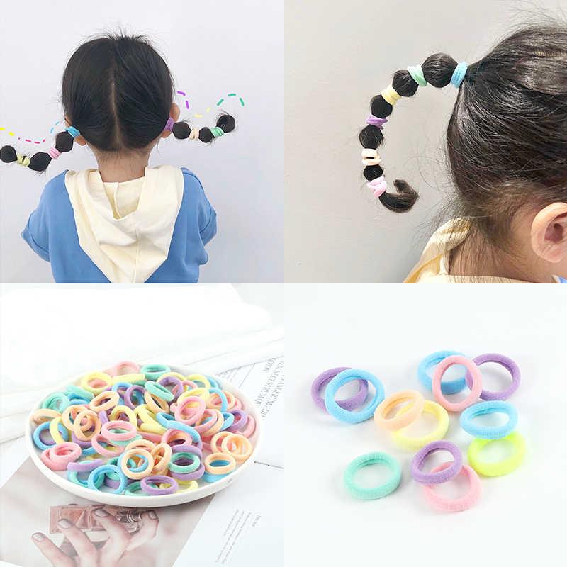 30/50/100 adet/takım renkli küçük saç bantları kızlar sevimli yüksek elastik saç bağları çocuk saç aksesuarları at kuyruğu tutucu kafa bandı