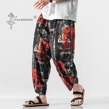Kimono Pants Stitching Asian Japanese Traditional Chinese-Style Male Fashion Printing