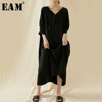 [EAM] Women Black Brief Long Big Size Dress New V-Neck Three-quarter Sleeve Loose Fit Fashion Tide Spring Summer 2020 1U756