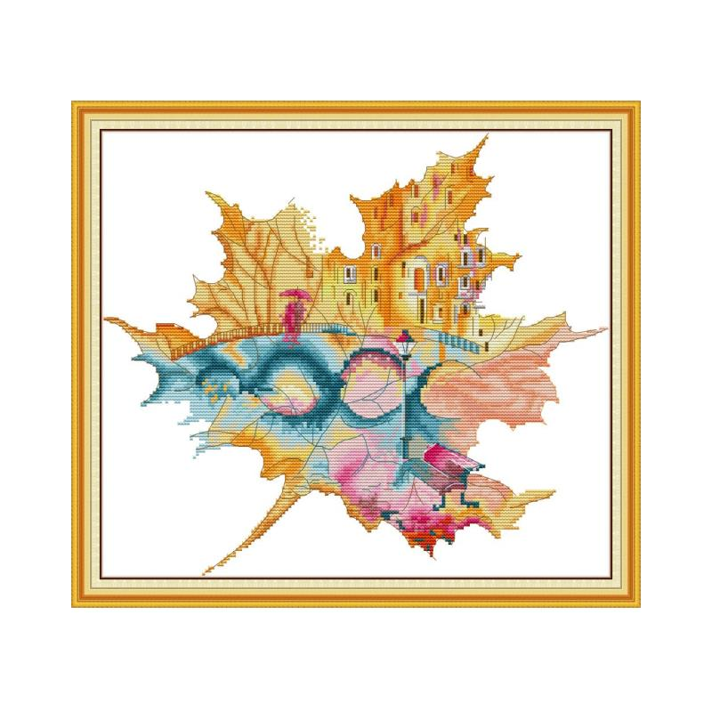 City In Maple Leaf Cross Stitch Patterns Printed On Canvas 14ct 11ct Needlework DMC DIY Cross Stitch Embroidery Kit Set Crafts