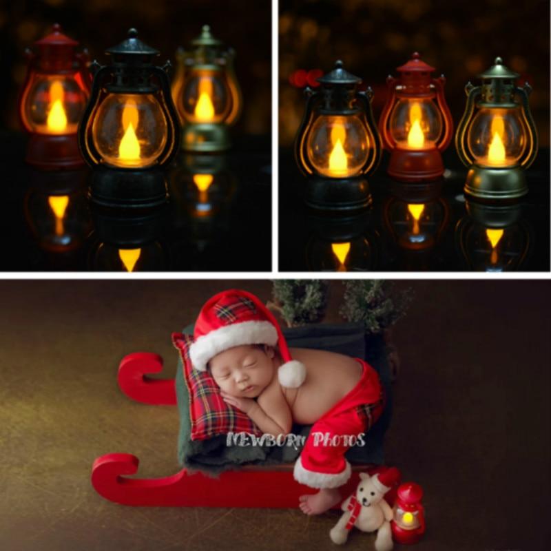 Newborn Photography Props Mini Horse Race Lamp Infant Shoot Accessories Baby Photo Decorations Retro Lamp Creative Props