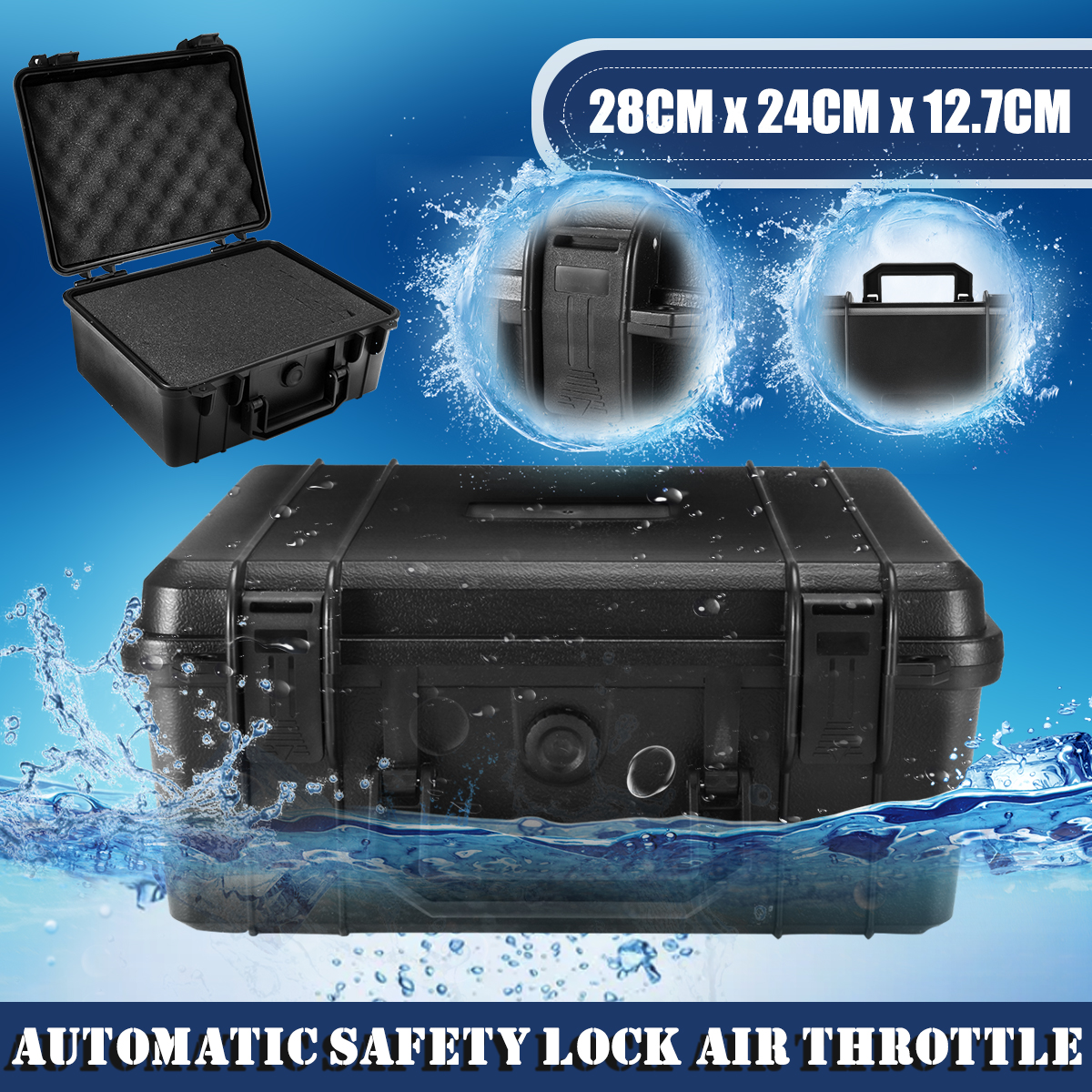 Waterproof Hard Carry Tool Case Bag Tool Kits Storage Box Safety Protector Organizer Hardware Impact Resistant 280X240X127mm