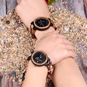 Image 4 - BOBO BIRD Reloj de madera para hombre y mujer, cuarzo, fecha, pareja, banda de madera colorida, logotipo personalizado, venta al por mayor