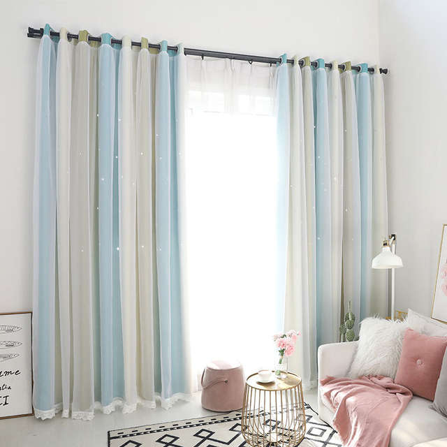 Blue Green Stars Blackout Curtains For Living Room Brown Stitching