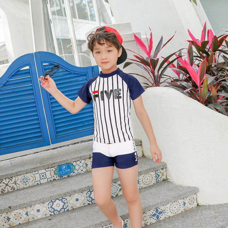 Europe And America 2019 New Style Hot Sales KID'S Swimwear Short Sleeve Shorts Two-piece Swimsuits Striped Letters Handsome BOY'