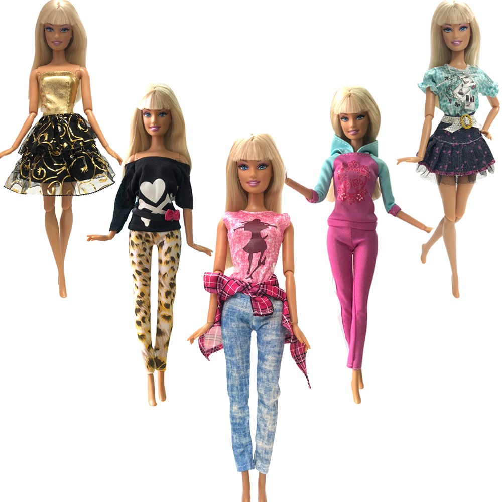 NK 5 Pcs/Set  Doll Dress Fashion Outfit  Casual Style Clothes Skirt  For Barbie Doll Accessories Girls Gift  Toys 20A 3X