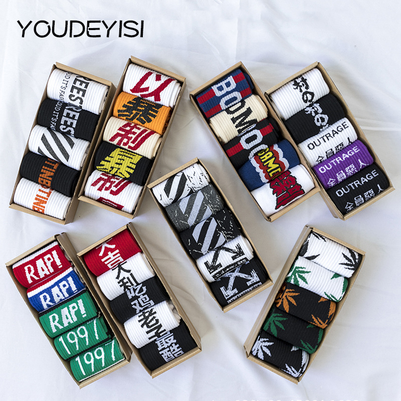 YOUDEYISI Creative Men Sock Harajuku Fashion Men Street Hip Hop Cotton Unisex Happy Socks Funny Skateboard Flame Socks
