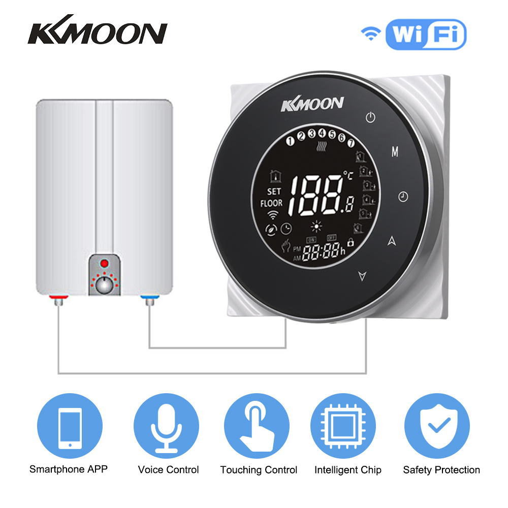 KKmoon Smart Digital WIFI Voice Control Room Temperature Controller APP Controls Water/Gas Boiler Heating Thermostat Regulator