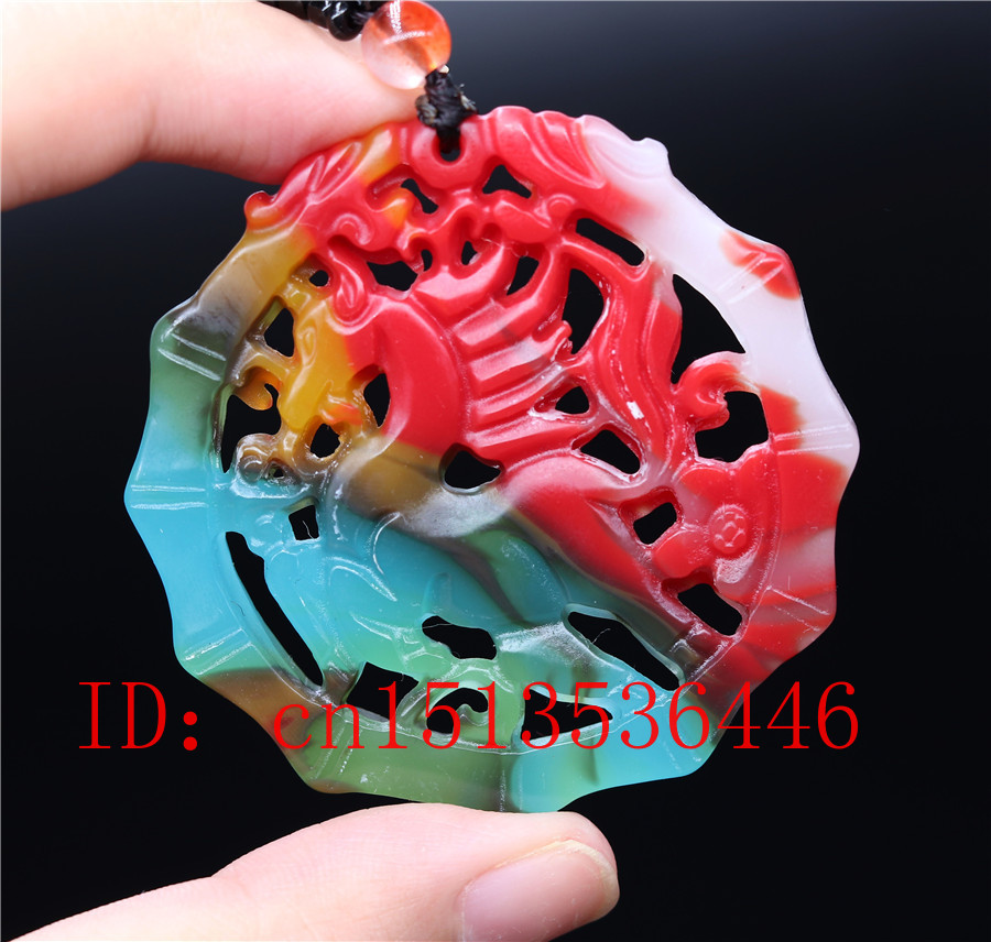 Chinese Colorful Jade Double-sided Hollow Horse Pendant Necklace Jewellery Hand-Carved Relax Healing Women Man Gift Free Rope