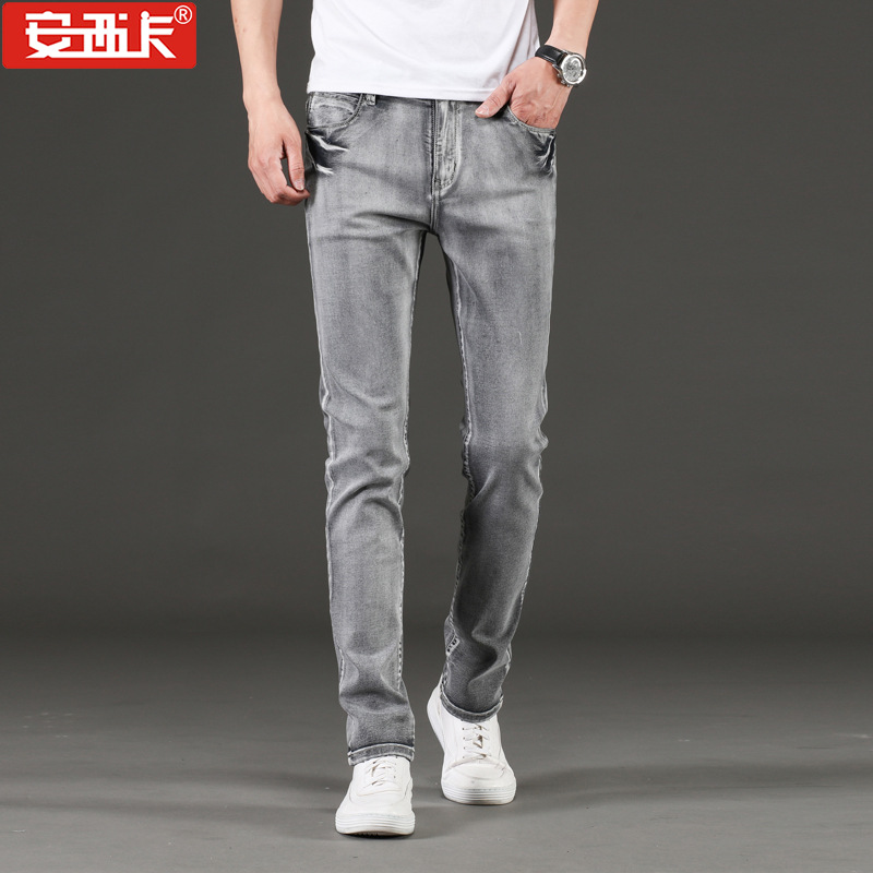 New Style Men'S Wear Paragraph Four Seasons Jeans Young MEN'S Korean-style Slim Fit Straight-Cut Cotton Elastic Jeans MEN'S Trou
