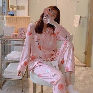 Image 5 - Caiyier Herfst Winter Pyjama Set Leuke Gele Eend Print Oorzakelijk Nachtkleding Mooie Meisje Lange Mouwen Koreaanse Nachtjapon Dames Homewe