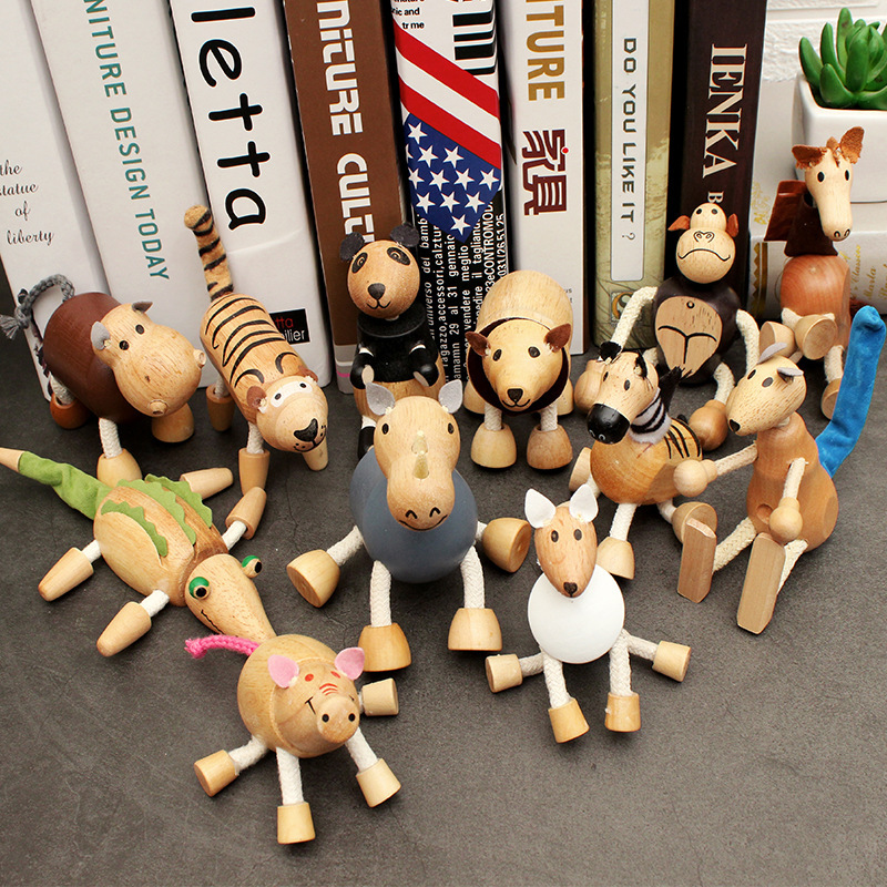Wood Small Animal Solid Wood Animal Doll Model Toy Children Forest Animal Puppet Toy Creative Decoration Kids Gifts