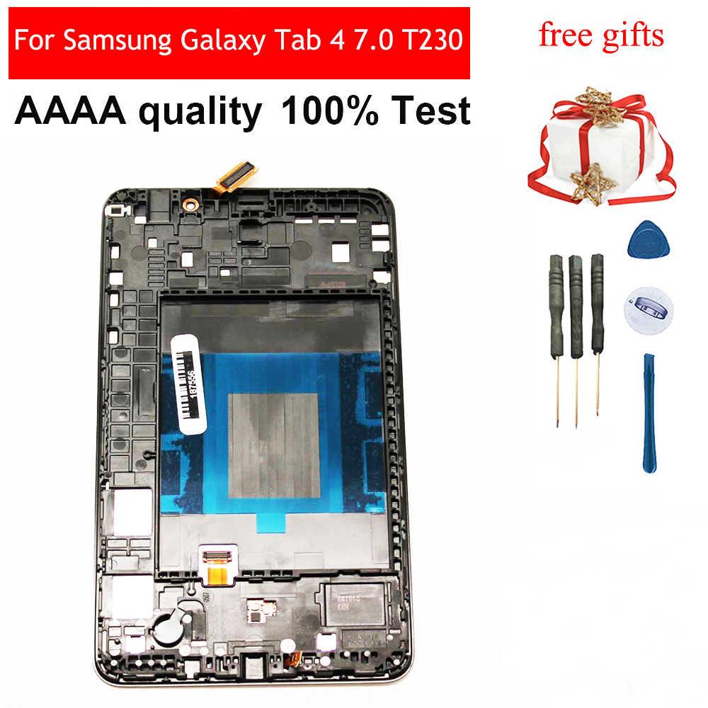 LCD para Samsung Galaxy Tab 4 7,0 T230 SM-T230 Sensor de pantalla táctil digitalizador de cristal + Panel de pantalla LCD con marco bisel