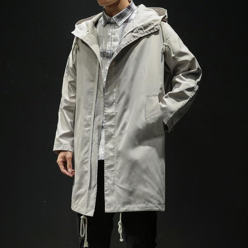 Autumn New Original Brand Loose Dust Coat Bigger Size Male Cloak Leisure Hooded Coat Casual Long Jacket Men Trench Coats M-5XL