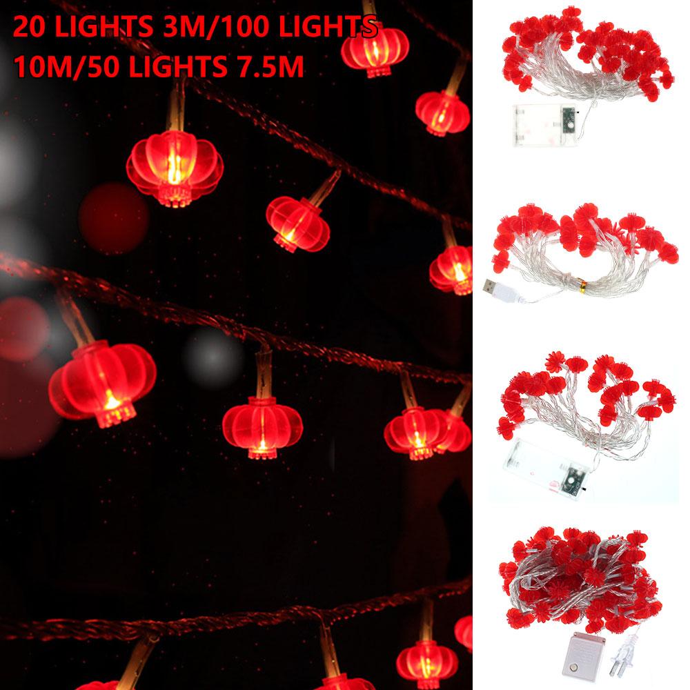 10 м китайский узел Красный фонарь праздник весны светодиодные гирлянды на свадьбу, Рождество Батарея работает китайский новый год Декор