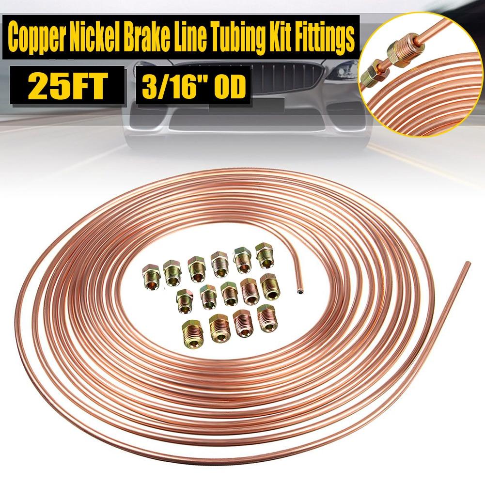 Braided Front Break Hose Copper Nickel 3/16''OD Roll Coil Brake Lines Tubing Kit Fittings For NISSAN Patrol Y61 Brake Line Pipe