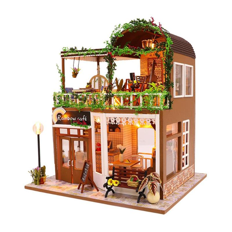 DIY Doll House Miniature Dollhouse Wooden DIY Doll House Handmade Cafe Coffee Shop For Family Friends Kid Gift