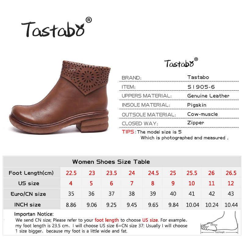 Tastabo hakiki deri el yapımı kadın çıplak botlar vahşi eğlence Martin çizmeler siyah kahverengi fermuar S1905-6 yüksek topuk kadın botları