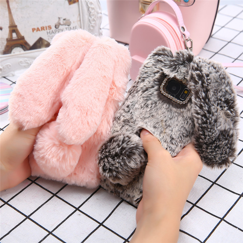 Cute 3D Rabbit Ears Fur Plush Phone Case For <font><b>Samsung</b></font> Galaxy A50 A5 A7 <font><b>2017</b></font> A71 <font><b>J3</b></font> J5 J7 2016 A3 J8 J4 J6 A6 A8 Plus 2018 Cover image