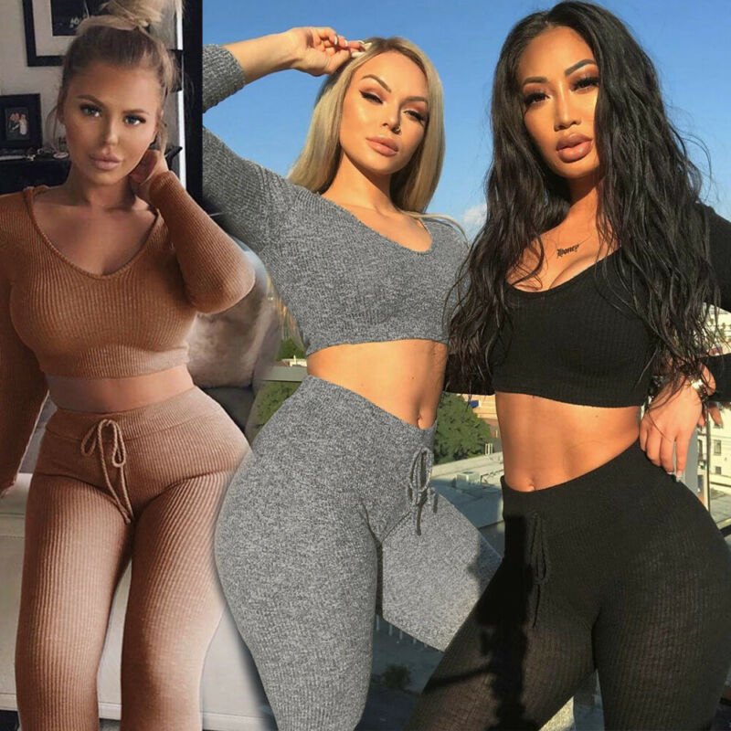 New Ladies Womens Crop Top Bottoms Tracksuit Lounge Activewear 2 Pcs Co-Ord Set