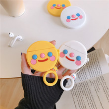 For AirPod 2 Case 3D Blush Smiley Face Cartoon Soft Silicone Wireless Earphone Cases Apple Airpods Cute Cover Funda