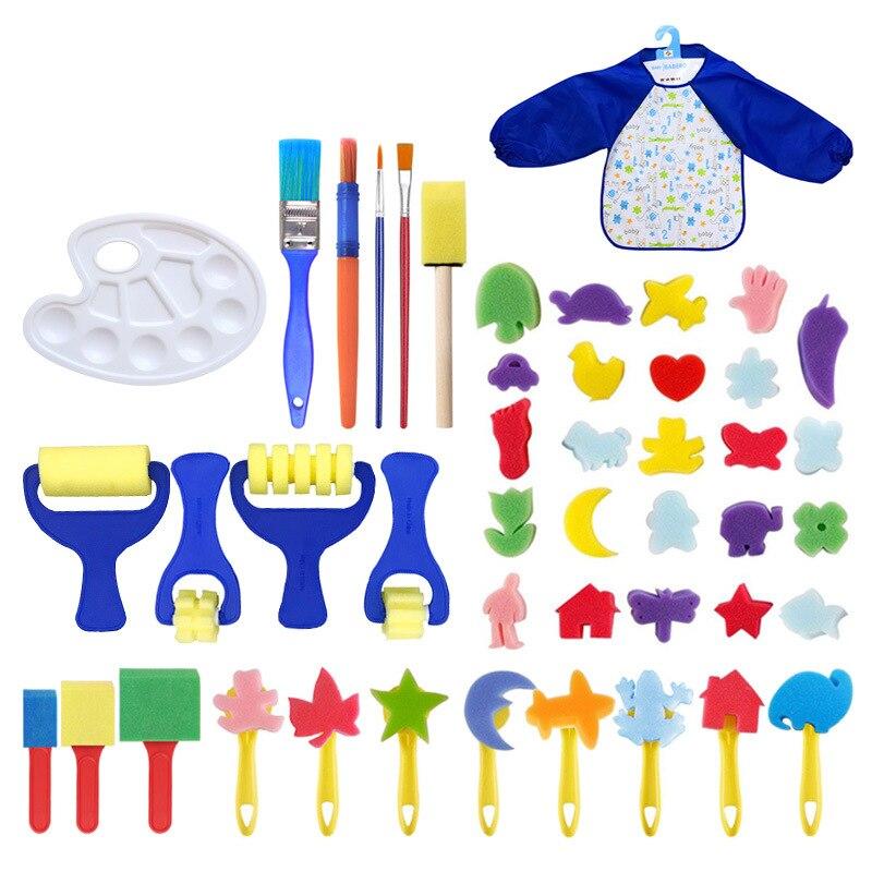 novo lavavel eva esponja pintura pinceis caneta com paleta pintura avental para criancas inicio educacional diy