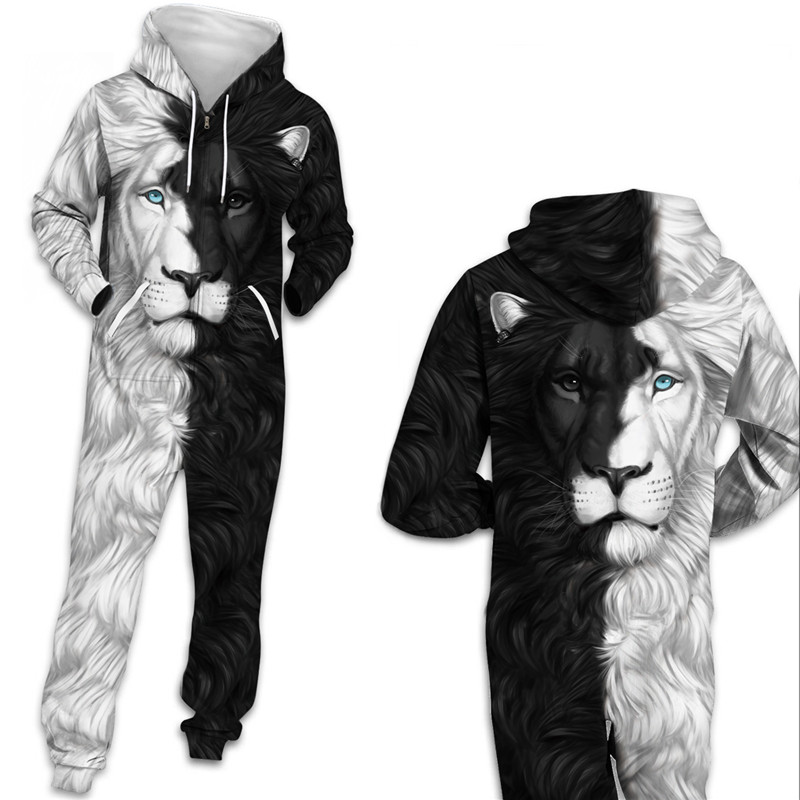 Unisex 3D Lion Print Hooded With Pocket Zipper Playsuits Women Men Sweatshirt Streetwear Tracksuit Playsuit
