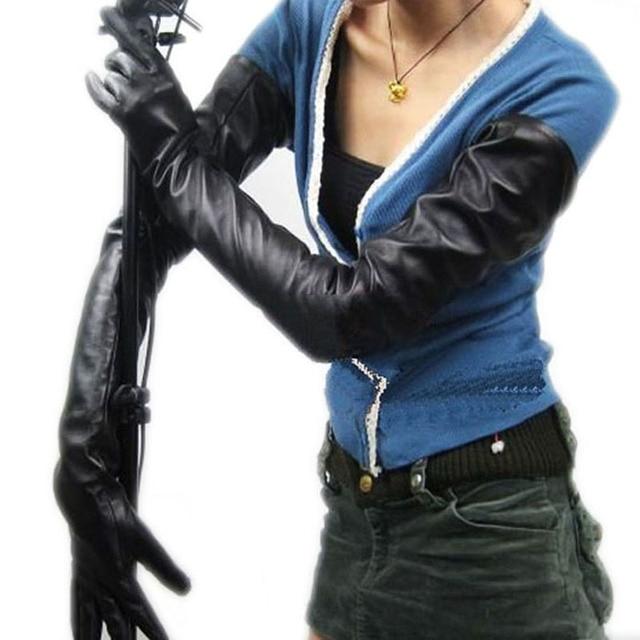 70 см (27,6 дюйма) длинные классические простые сверхдлинные перчатки из натуральной кожи на плече черные
