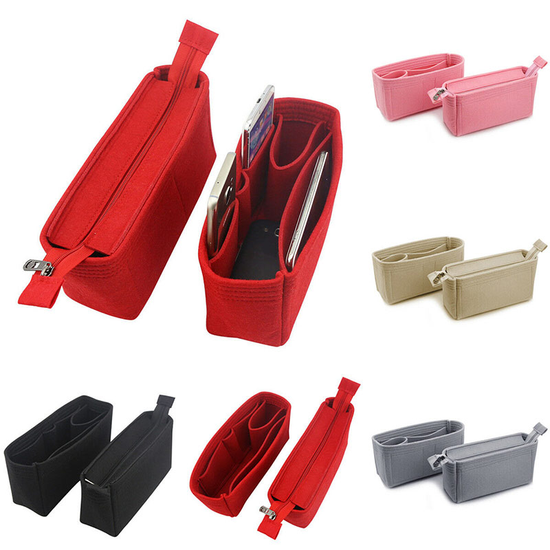 Felt Purse Insert Organizer Bag With Detachable Zipper Pockets For Tote Handbag Various Bag New