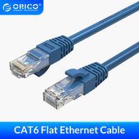 ORICO CAT6 Ethernet plano Cable de red de Cable Cat 6 Lan Cable 1m 3m 5m 10m para PS2 de la computadora de la PC Cable de enrutador Ethernet Blanco/azul