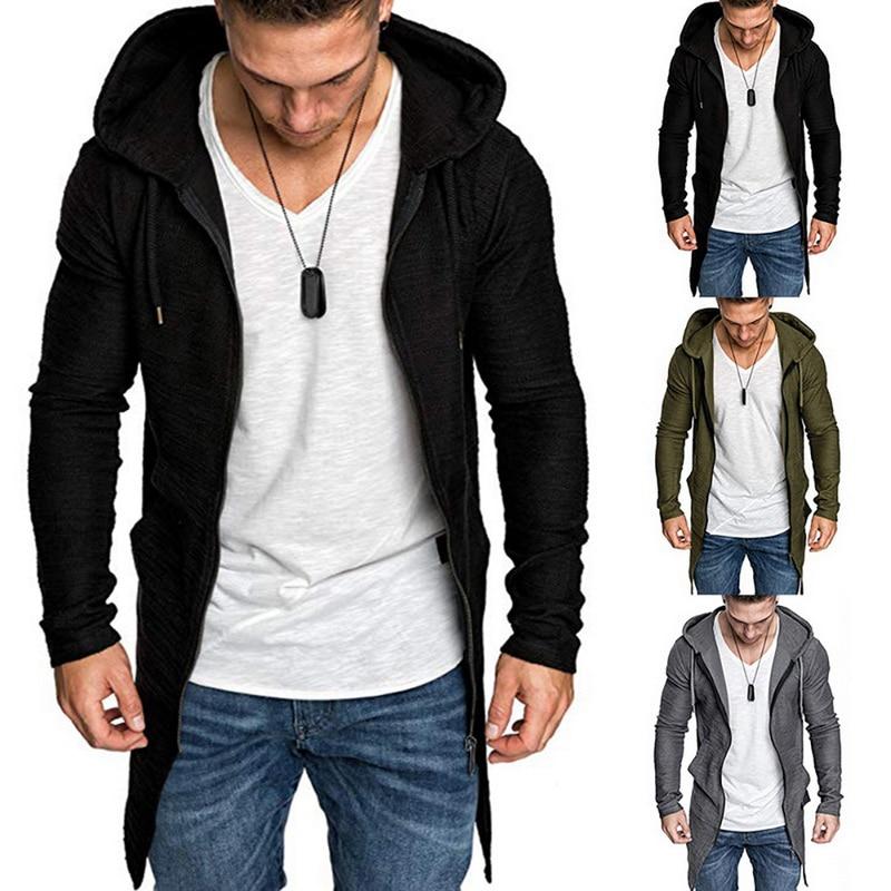 2019 New Mens Hooded Solid Trench Coat Jacket Cardigan Irregular Hem Long Sleeve Slim Fit Coat Mens Blouse