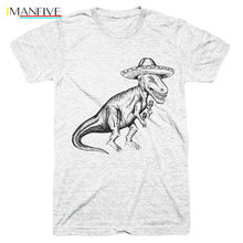 2019 Newest Fashion T-rex Tyrannosaurus Rex Wearing Sombrero Funny Mexican Taco Tuesday Mens Tees O-Neck T Shirt