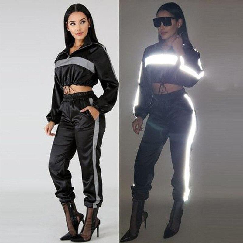 SS9506 Cross Border WOMEN'S Dress Amazon Hot Selling Europe And America WOMEN'S Dress Reflective Shiny Long Sleeve Sports Night