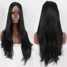 Bombshell Zwart Steil Haar Synthetische Lace Front Pruik Natuurlijke Haarlijn Hittebestendige Vezel Haar Middenscheiding Voor Vrouwen Pruiken