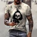 Harajuku Мужская футболка 2021 уличная мода карты покер Печать футболки с коротким рукавом Повседневная одежда с О-образным вырезом, мужские летн...
