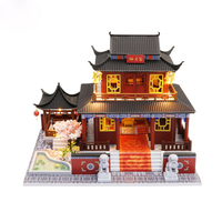 DIY Doll House Chinese Style Miniature Dollhouse Model Wooden Dollhouses Furnitures Assemble Kit with LED Casa Toys for Children