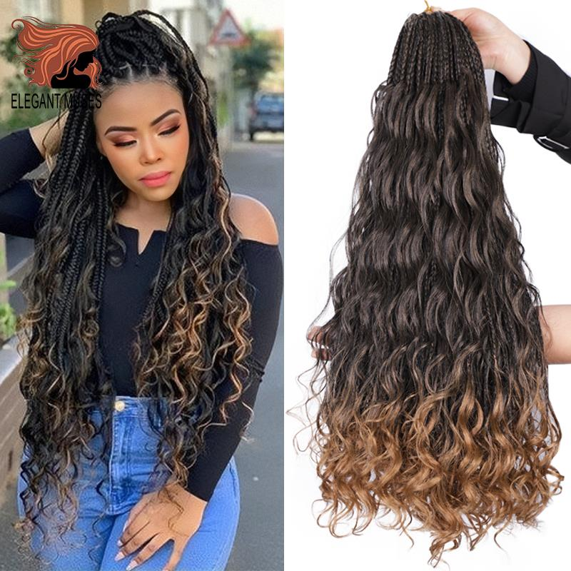 24inch Bohemian Messy Box Braids With Curls End Black Ombre Brown Synthetic Crochet Hair Boho Braided Hair Extensions For Woman