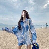 Легкая летняя рубашка с красивым и ярким принтом  - 903,97 руб.