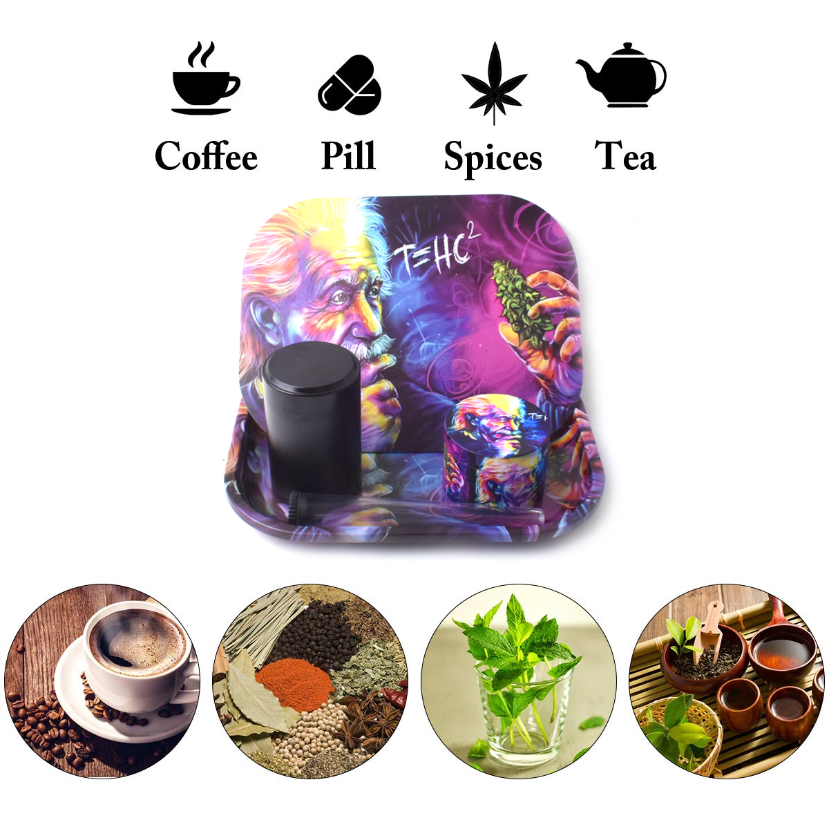 Rolling Tray Weed Grinder Set with Magnetic Lid 18X14cm Rolling Papers Tobacco Grinders Metal Trays Kit Smoking Accessories 6