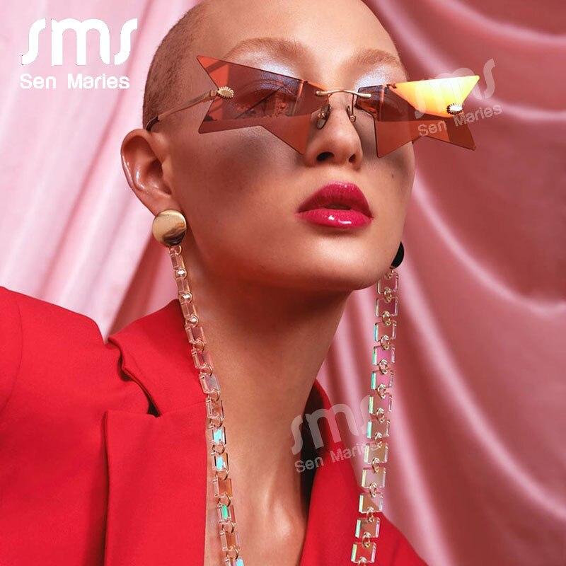 2020 neue Persönlichkeit Halb Rahmen Stern Sonnenbrille Frauen Luxus Randlose Sonnenbrille Polygonal Schwarz Punk Brillen Weibliche Shades