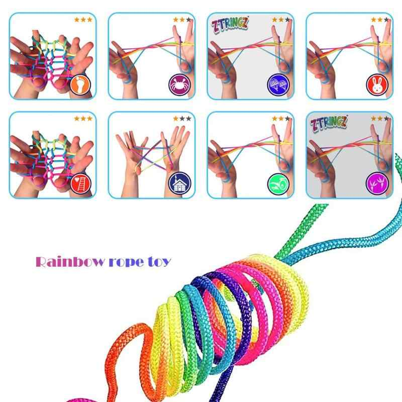 Kids Rainbow Colour Finger Rope Game Thread Rope Various Figures Fumble Finger Thread Rope String Game Interactive Game Toys