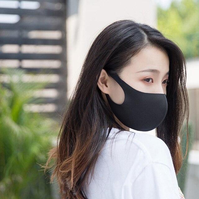 1PC Black Korean Version Women Men Ice silk Cotton Mouth Mask Breathable Face Mask Reusable Windproof Face Shield Unisex 4