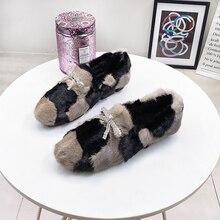 Loafers Women Flats Rhinestone Comfortable Female Winter Fashion Fur Warm Plush