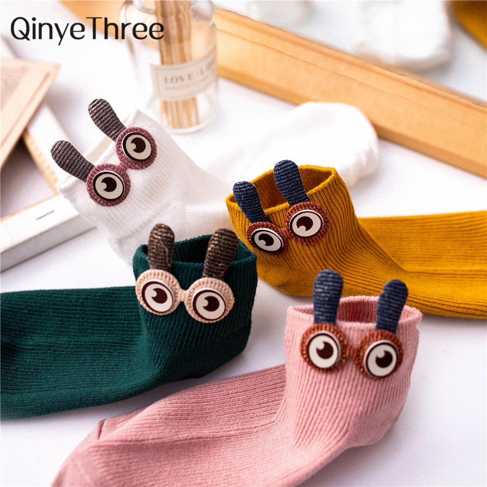 New Women's Spring Summer Cartoon 3D Big Eyes 3D Rabbit Eared Short Tube Socks Novelty Funny Soft Cotton Ankle Socks Gift