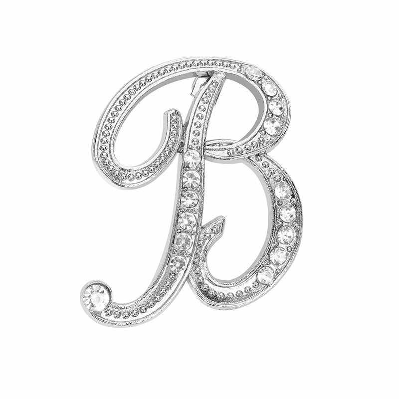 1 قطعة الكريستال 26 الإنجليزية رسائل بروش دبوس زوجين مجوهرات تذكارية هدايا الحب بروش للنساء بيان مجوهرات بالجملة
